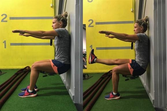 Wall sit (1 min) Advance to single leg